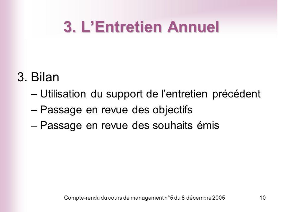 Compte-rendu du cours de management n°5 du 8 décembre 200510 3. LEntretien Annuel 3. Bilan –Utilisation du support de lentretien précédent –Passage en