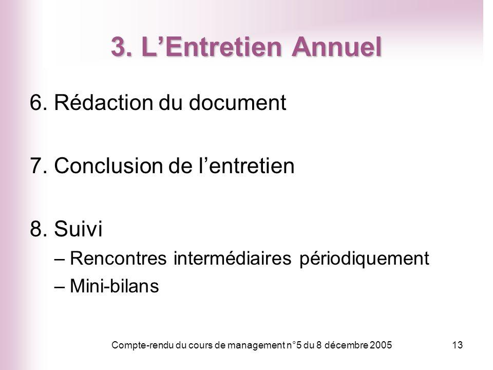 Compte-rendu du cours de management n°5 du 8 décembre 200513 3. LEntretien Annuel 6. Rédaction du document 7. Conclusion de lentretien 8. Suivi –Renco