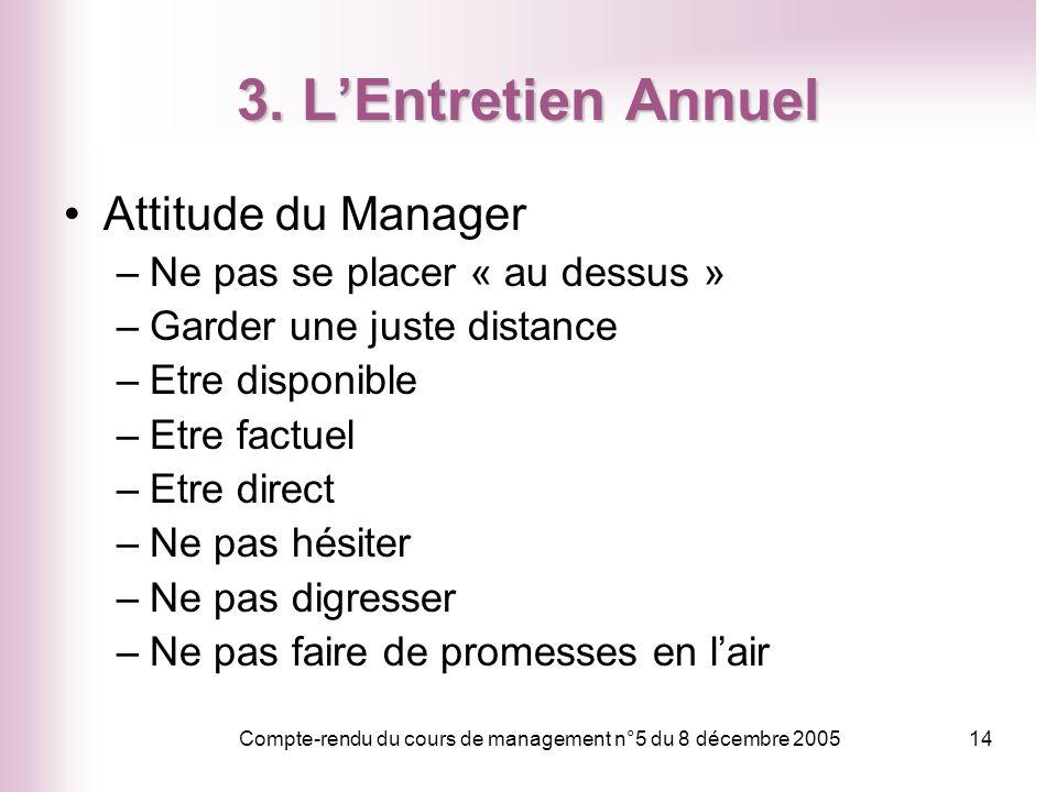 Compte-rendu du cours de management n°5 du 8 décembre 200514 3. LEntretien Annuel Attitude du Manager –Ne pas se placer « au dessus » –Garder une just