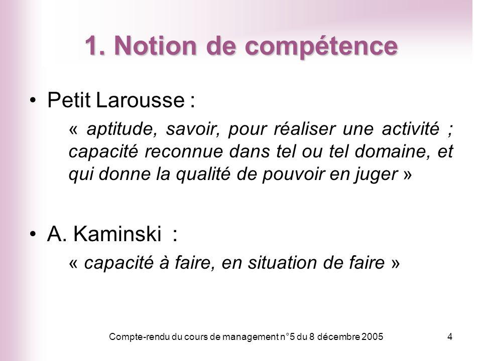 Compte-rendu du cours de management n°5 du 8 décembre 20054 1. Notion de compétence Petit Larousse : « aptitude, savoir, pour réaliser une activité ;