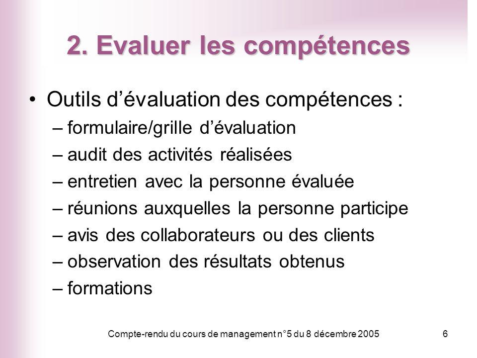 Compte-rendu du cours de management n°5 du 8 décembre 20056 2. Evaluer les compétences Outils dévaluation des compétences : –formulaire/grille dévalua