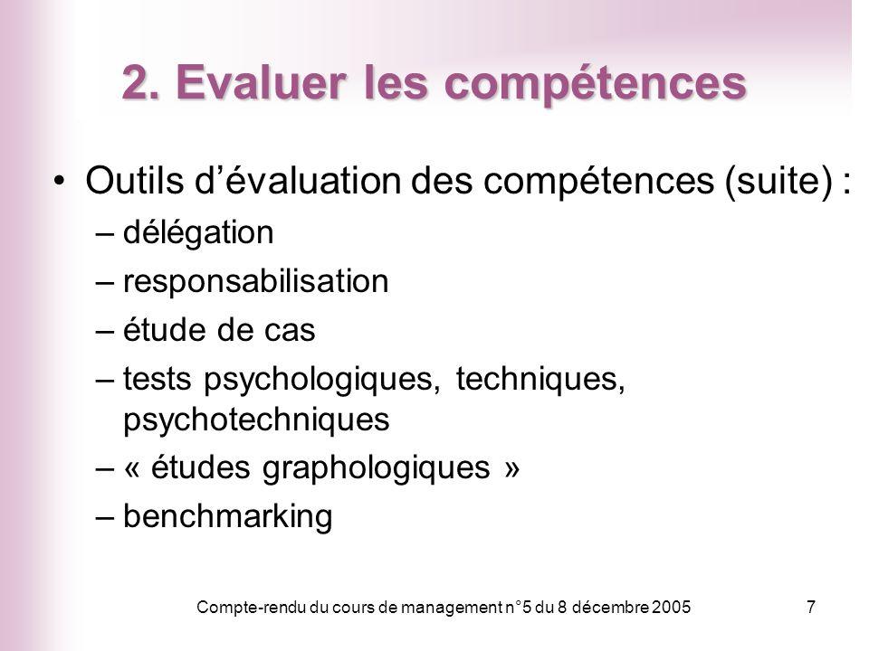 Compte-rendu du cours de management n°5 du 8 décembre 20057 2. Evaluer les compétences Outils dévaluation des compétences (suite) : –délégation –respo
