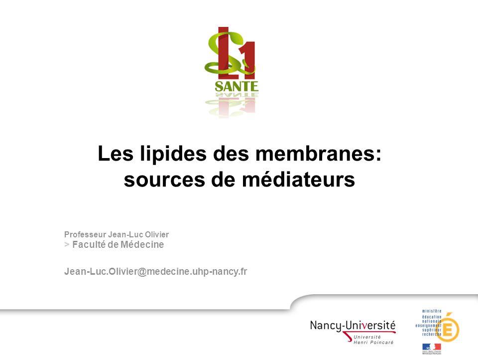 Professeur Jean-Luc Olivier > Faculté de Médecine Jean-Luc.Olivier@medecine.uhp-nancy.fr Les lipides des membranes: sources de médiateurs