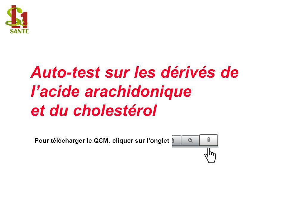 Auto-test sur les dérivés de lacide arachidonique et du cholestérol Pour télécharger le QCM, cliquer sur longlet