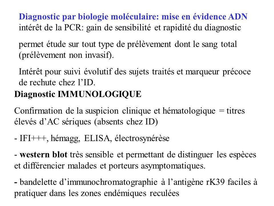 Diagnostic IMMUNOLOGIQUE Confirmation de la suspicion clinique et hématologique = titres élevés dAC sériques (absents chez ID) - IFI+++, hémagg, ELISA