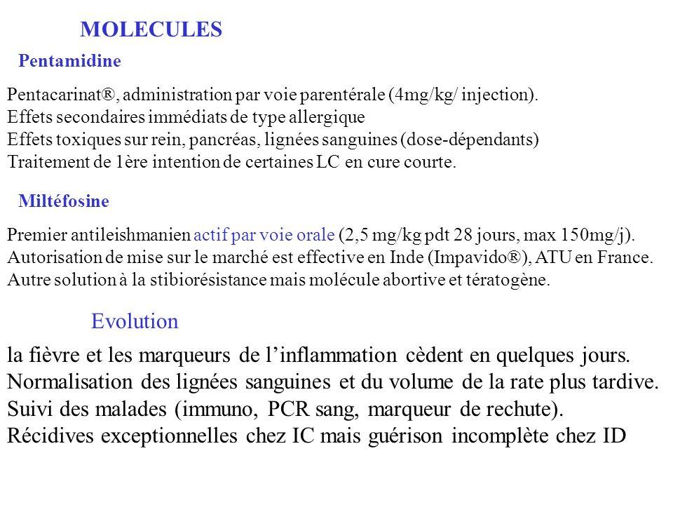 Pentamidine MOLECULES Miltéfosine Premier antileishmanien actif par voie orale (2,5 mg/kg pdt 28 jours, max 150mg/j).