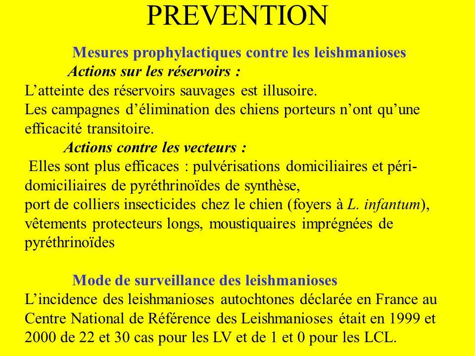 PREVENTION Mesures prophylactiques contre les leishmanioses Actions sur les réservoirs : Latteinte des réservoirs sauvages est illusoire. Les campagne
