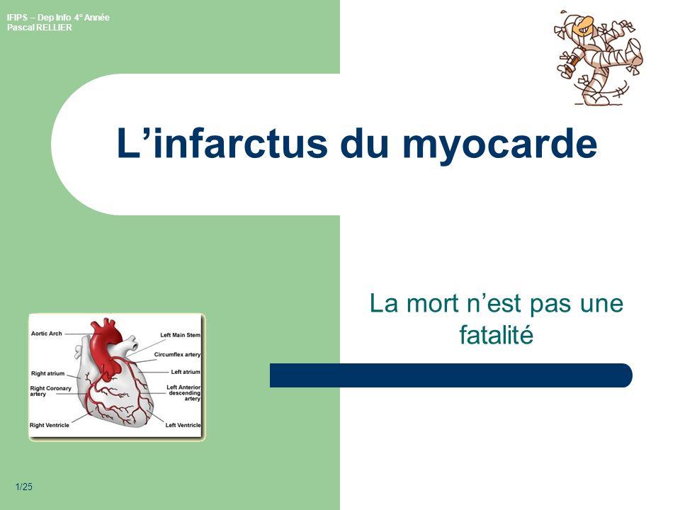 IFIPS – Dep Info 4° Année Pascal RELLIER 1/25 Linfarctus du myocarde La mort nest pas une fatalité