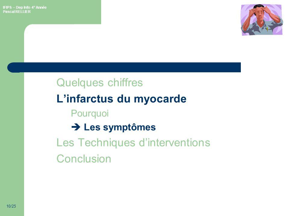 IFIPS – Dep Info 4° Année Pascal RELLIER 10/25 Quelques chiffres Linfarctus du myocarde Pourquoi Les symptômes Les Techniques dinterventions Conclusion