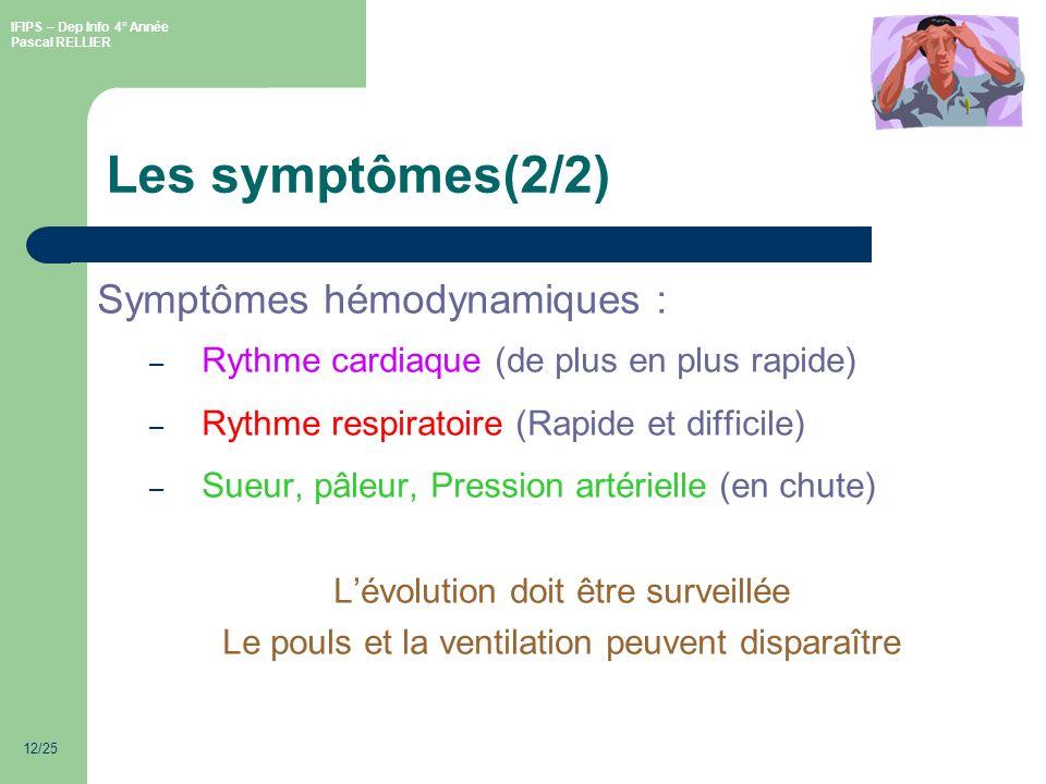 IFIPS – Dep Info 4° Année Pascal RELLIER 12/25 Les symptômes(2/2) Symptômes hémodynamiques : – Rythme cardiaque (de plus en plus rapide) – Rythme respiratoire (Rapide et difficile) – Sueur, pâleur, Pression artérielle (en chute) Lévolution doit être surveillée Le pouls et la ventilation peuvent disparaître