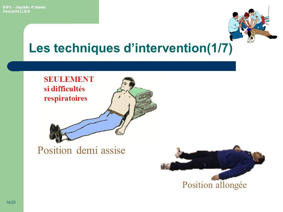 IFIPS – Dep Info 4° Année Pascal RELLIER 14/25 Les techniques dintervention(1/7) Position demi assise SEULEMENT si difficultés respiratoires Position allongée