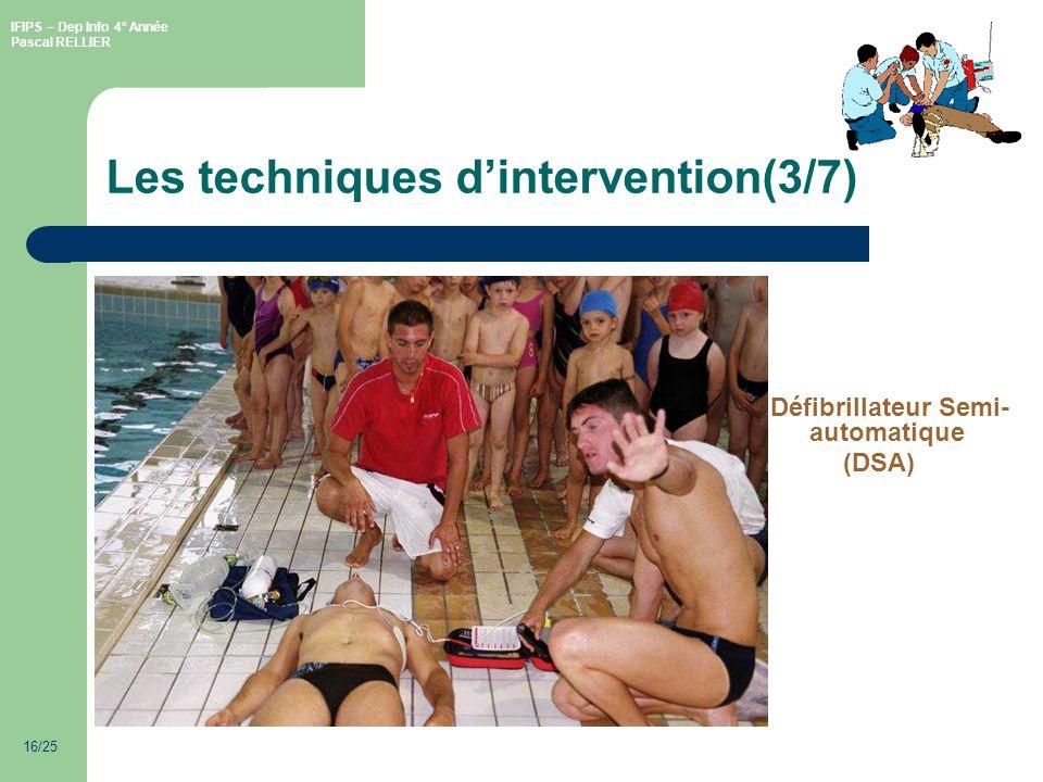 IFIPS – Dep Info 4° Année Pascal RELLIER 16/25 Les techniques dintervention(3/7) Défibrillateur Semi- automatique (DSA)
