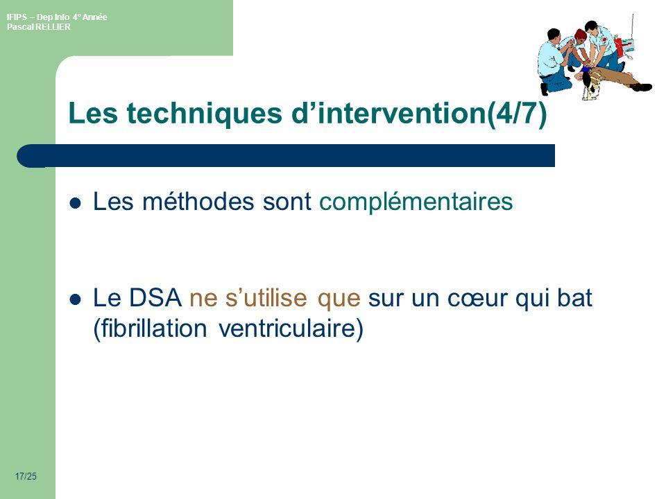 IFIPS – Dep Info 4° Année Pascal RELLIER 17/25 Les techniques dintervention(4/7) Les méthodes sont complémentaires Le DSA ne sutilise que sur un cœur qui bat (fibrillation ventriculaire)
