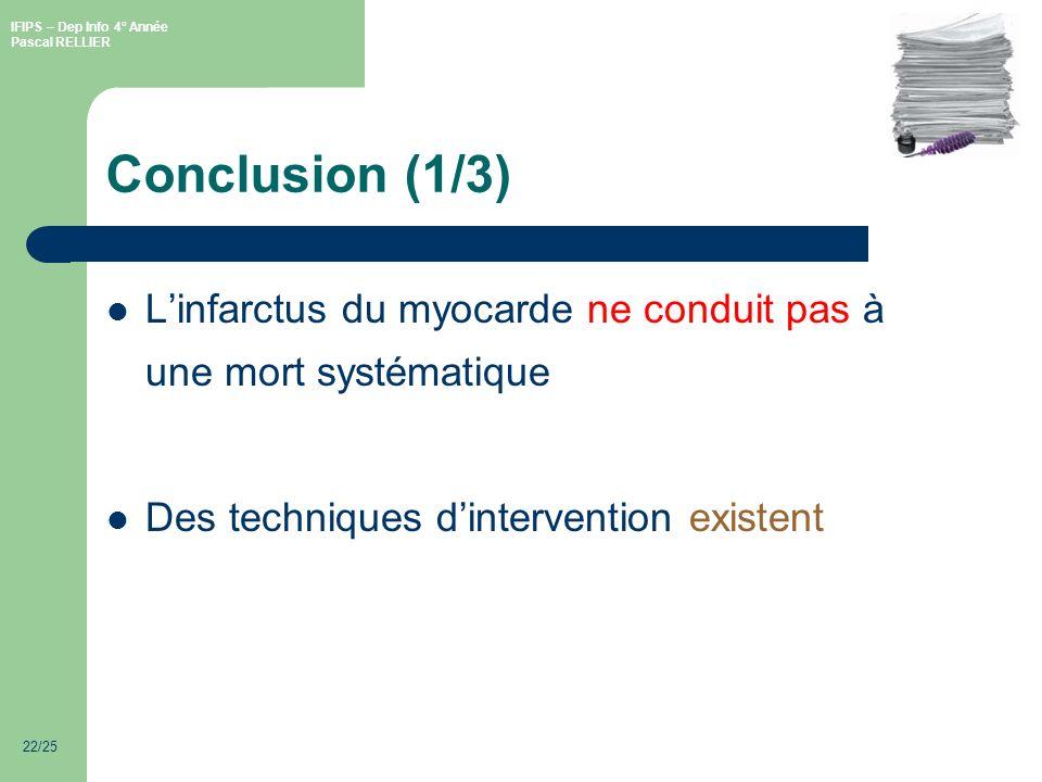 IFIPS – Dep Info 4° Année Pascal RELLIER 22/25 Conclusion (1/3) Linfarctus du myocarde ne conduit pas à une mort systématique Des techniques dintervention existent
