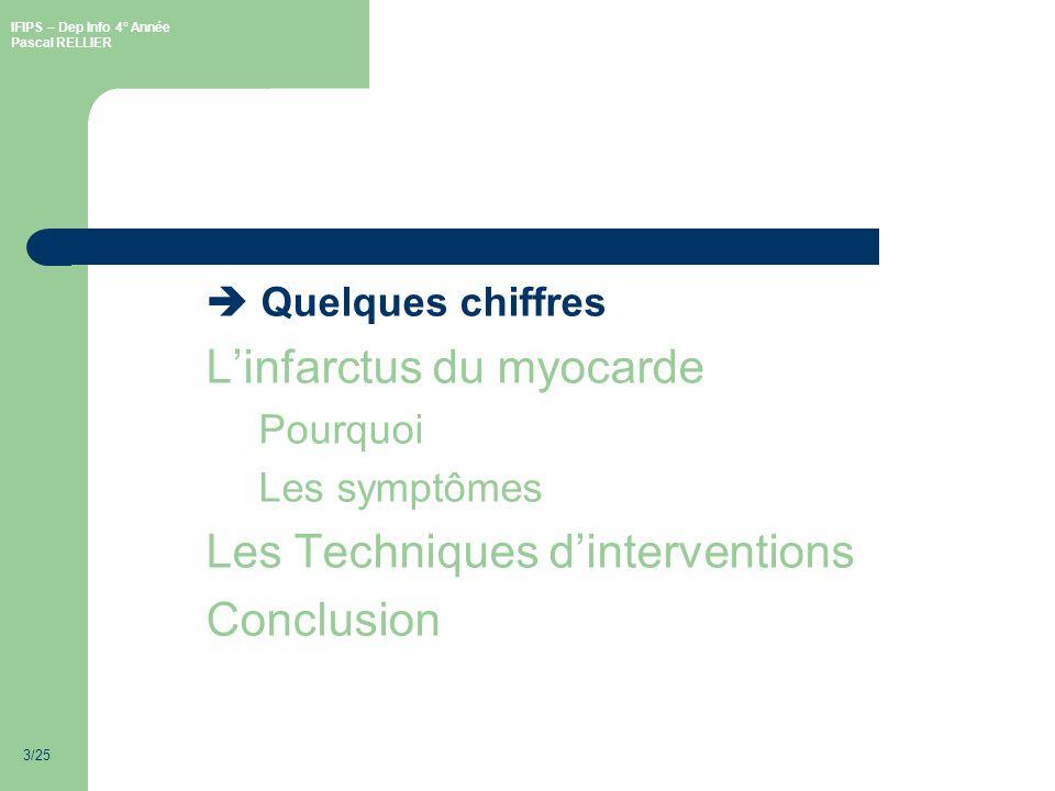 IFIPS – Dep Info 4° Année Pascal RELLIER 3/25 Quelques chiffres Linfarctus du myocarde Pourquoi Les symptômes Les Techniques dinterventions Conclusion
