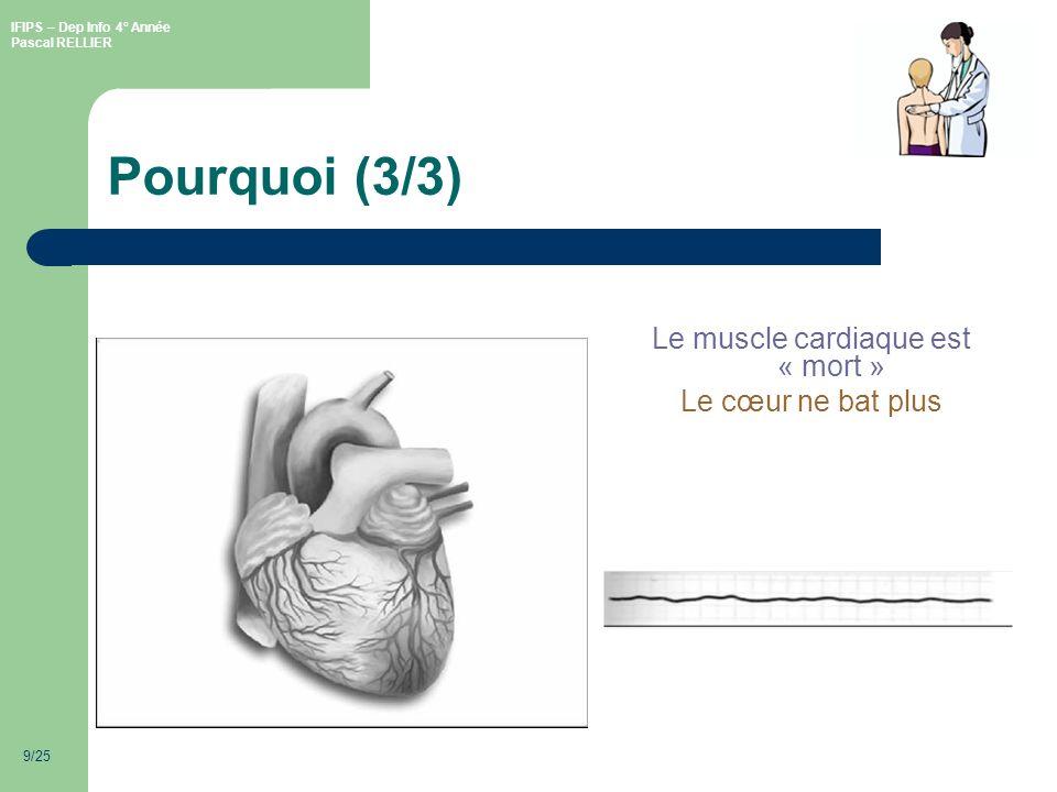 IFIPS – Dep Info 4° Année Pascal RELLIER 9/25 Pourquoi (3/3) Le muscle cardiaque est « mort » Le cœur ne bat plus