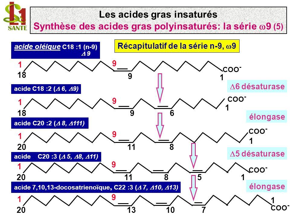 COO - 1 9 18 1 9 acide oléique C18 :1 (n-9) 9 COO - 1 918 1 9 6 acide C18 :2 ( 6, 9) COO - 1 1120 1 9 8 acide C20 :2 ( 8, 111) COO - 11120 1 9 85 COO