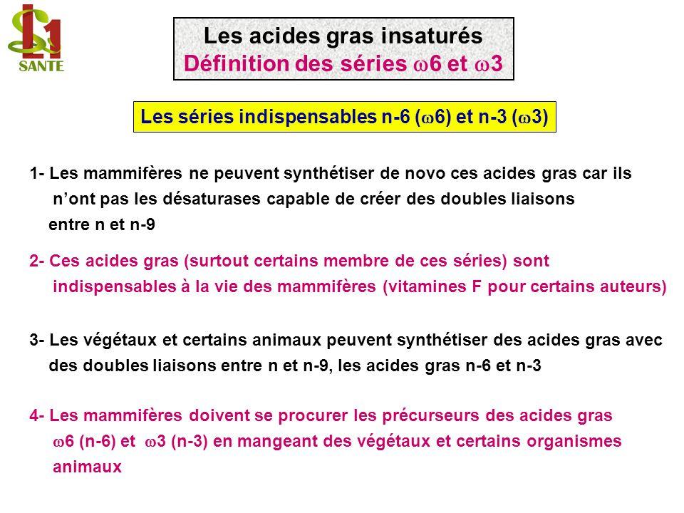 Les séries indispensables n-6 ( 6) et n-3 ( 3) 1- Les mammifères ne peuvent synthétiser de novo ces acides gras car ils nont pas les désaturases capab