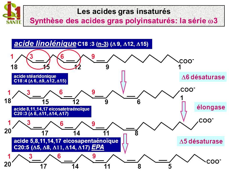acide linolénique C18 :3 (n-3) ( 9, 12, 15) acide stéaridonique C18 :4 ( 6, 9, 12, 15) 6 désaturase 19 COO - 18 196 12 3 15 COO - 96 9126 13 18 1 15 a