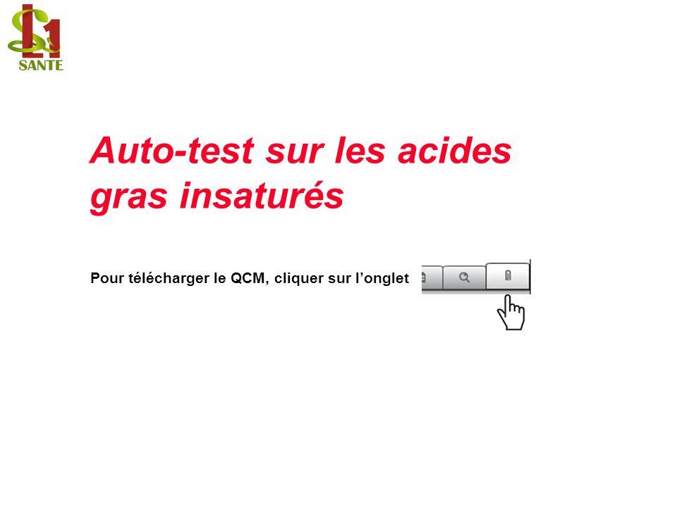 Auto-test sur les acides gras insaturés Pour télécharger le QCM, cliquer sur longlet