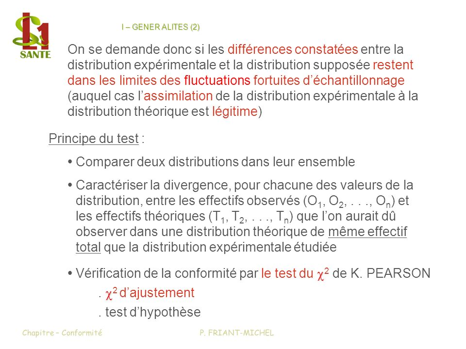 2 lhypothèse nulle est acceptable à 5 % de risque = n - 3 = 10 - 3 = 7 = 5 %=> 2 = 14,07 Conclusion : lhypothèse que la distribution suive une loi normale de moyenne m = 3,33 kg et décart-type = 0,45 kg na pas été démentie par les constatations expérimentales Chapitre – ConformitéP.