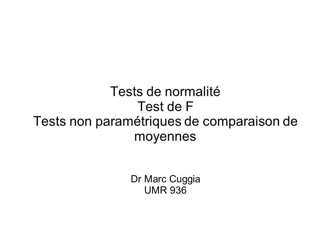 Tests de normalité Test de F Tests non paramétriques de comparaison de moyennes Dr Marc Cuggia UMR 936