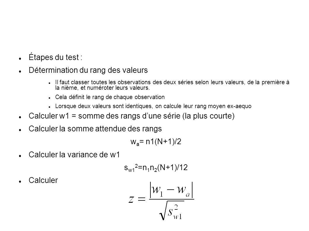 Étapes du test : Détermination du rang des valeurs Il faut classer toutes les observations des deux séries selon leurs valeurs, de la première à la ni