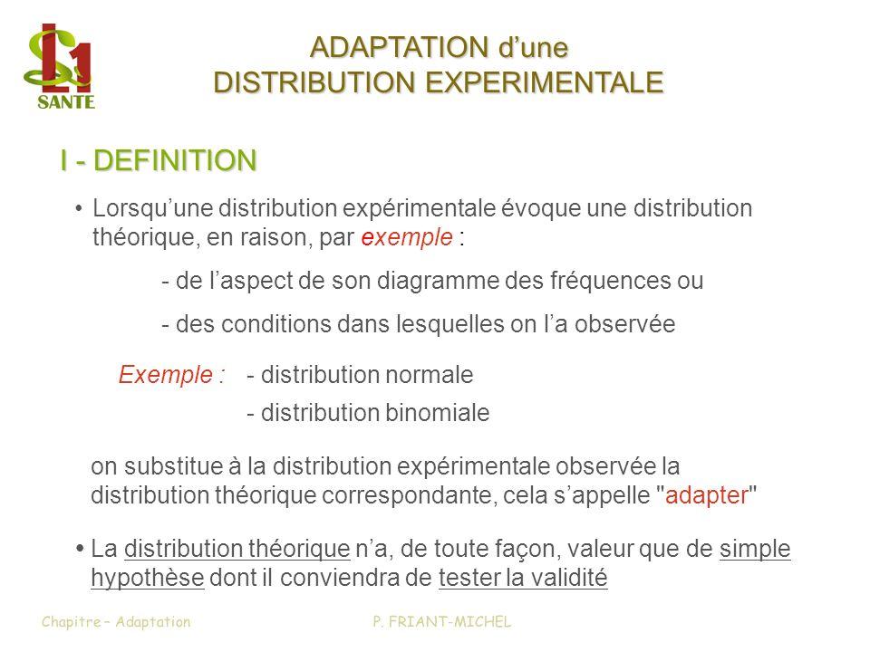 I - DEFINITION Exemple :- distribution normale - distribution binomiale on substitue à la distribution expérimentale observée la distribution théoriqu