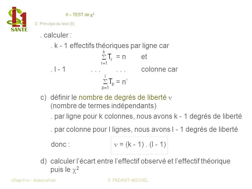 . calculer :. k - 1 effectifs théoriques par ligne car = net. l - 1......colonne car = n c)définir le nombre de degrés de liberté (nombre de termes in