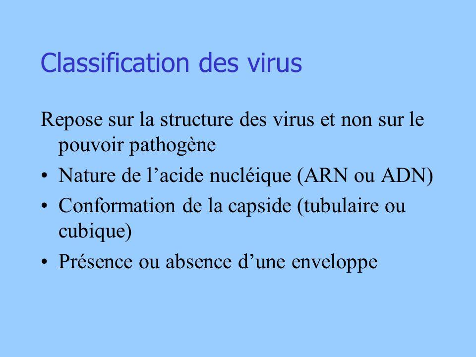 Classification des virus Repose sur la structure des virus et non sur le pouvoir pathogène Nature de lacide nucléique (ARN ou ADN) Conformation de la