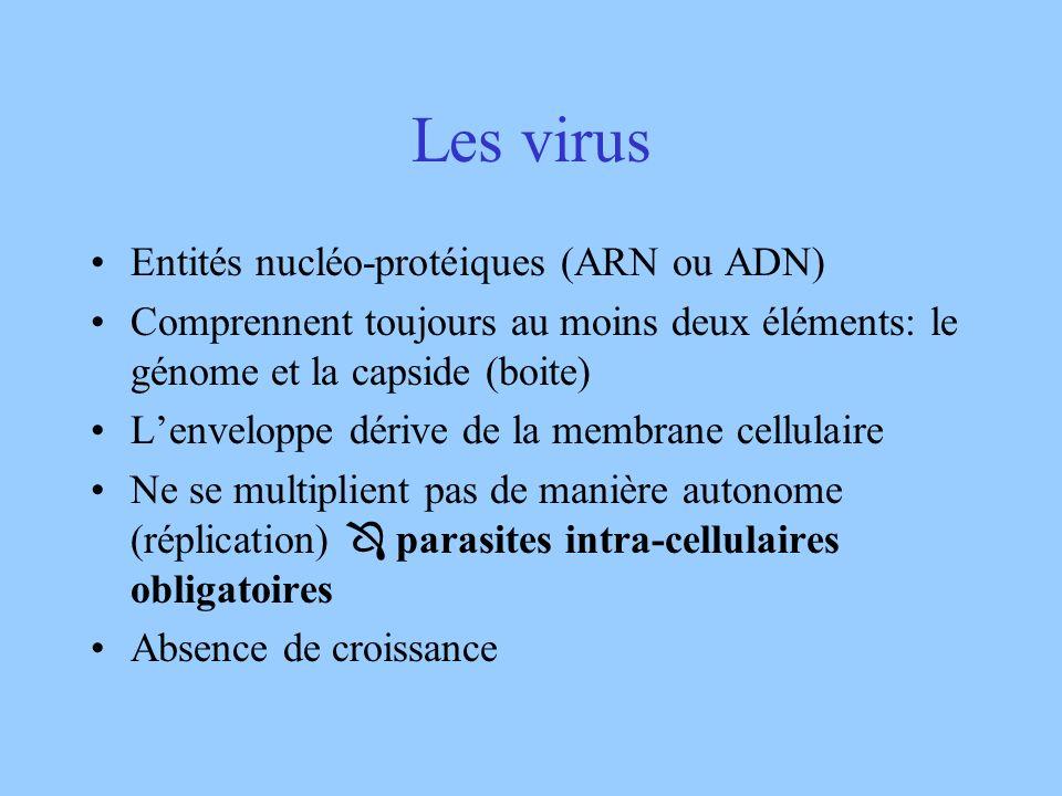 Les virus Entités nucléo-protéiques (ARN ou ADN) Comprennent toujours au moins deux éléments: le génome et la capside (boite) Lenveloppe dérive de la