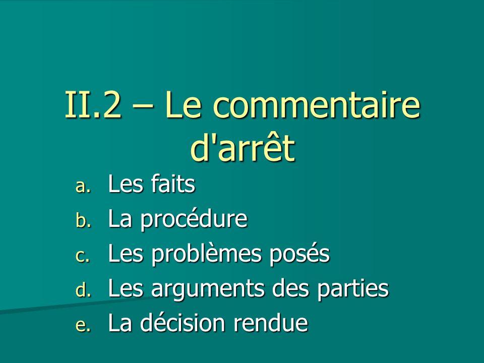 II.2 – Le commentaire d'arrêt a. Les faits b. La procédure c. Les problèmes posés d. Les arguments des parties e. La décision rendue