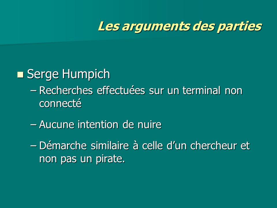 Les arguments des parties Serge Humpich Serge Humpich –Recherches effectuées sur un terminal non connecté –Aucune intention de nuire –Démarche similai