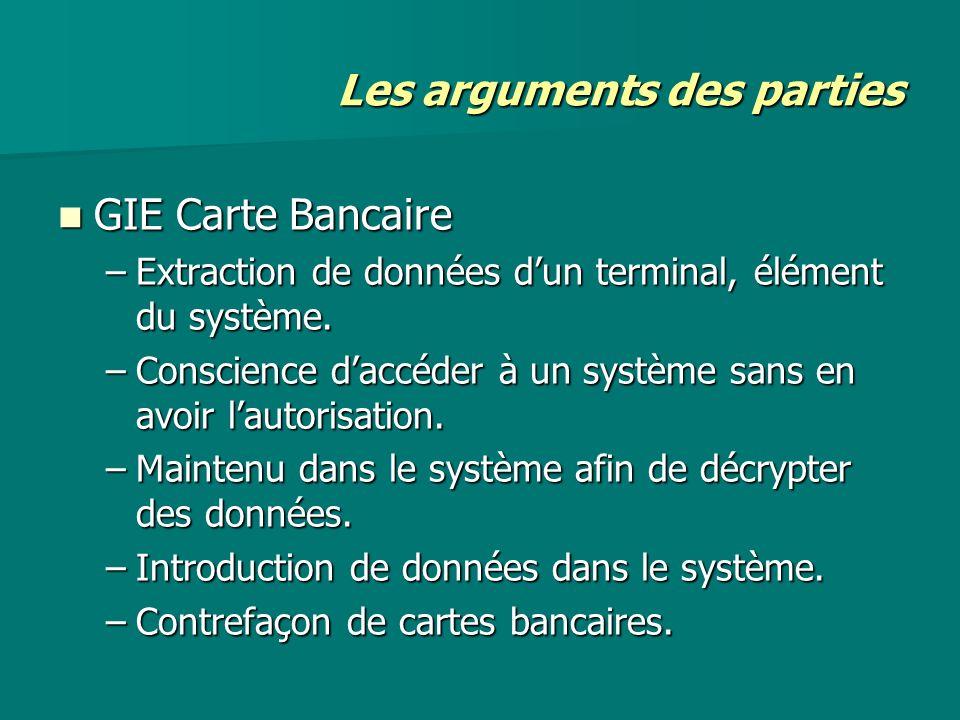 Les arguments des parties GIE Carte Bancaire GIE Carte Bancaire –Extraction de données dun terminal, élément du système. –Conscience daccéder à un sys