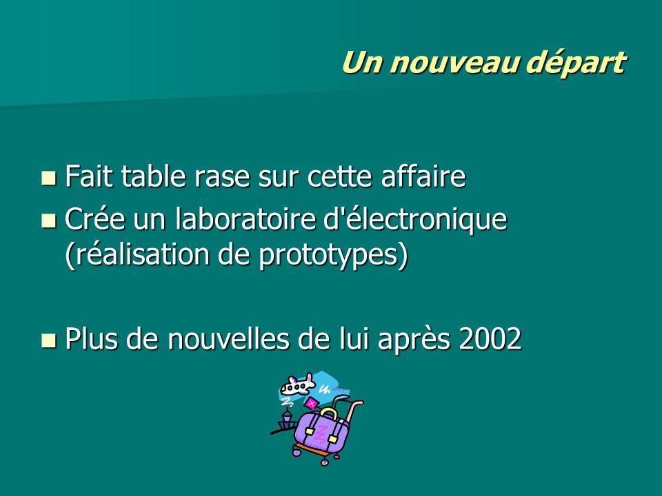 Un nouveau départ Fait table rase sur cette affaire Fait table rase sur cette affaire Crée un laboratoire d'électronique (réalisation de prototypes) C
