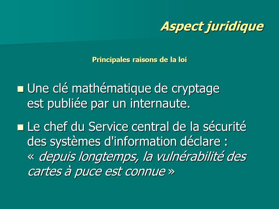 Principales raisons de la loi Une clé mathématique de cryptage est publiée par un internaute. Une clé mathématique de cryptage est publiée par un inte