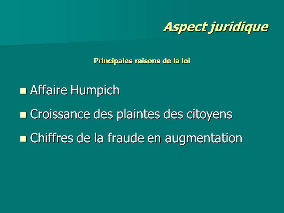 Principales raisons de la loi Affaire Humpich Affaire Humpich Croissance des plaintes des citoyens Croissance des plaintes des citoyens Chiffres de la