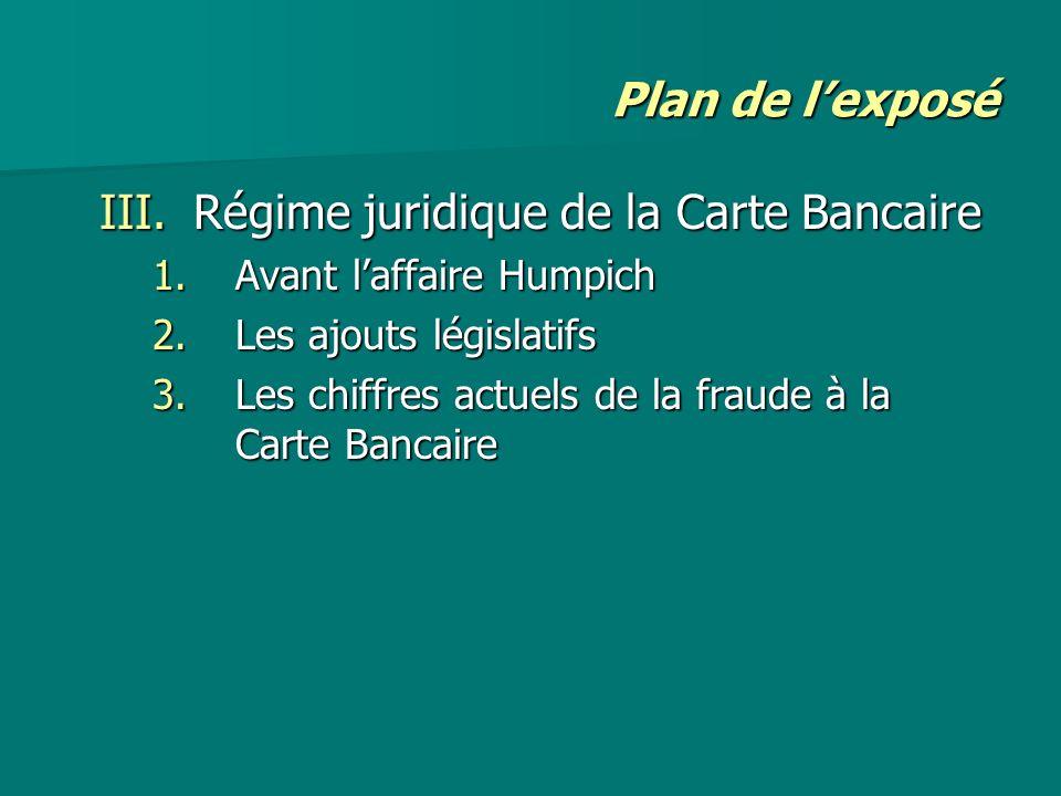 Plan de lexposé III.Régime juridique de la Carte Bancaire 1.Avant laffaire Humpich 2.Les ajouts législatifs 3.Les chiffres actuels de la fraude à la C
