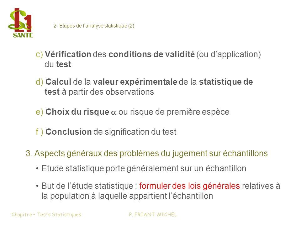 c) Vérification des conditions de validité (ou dapplication) du test d) Calcul de la valeur expérimentale de la statistique de test à partir des observations e) Choix du risque ou risque de première espèce f ) Conclusion de signification du test 3.