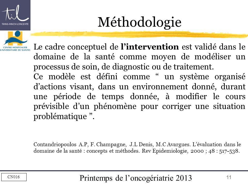 Printemps de loncogériatrie 2013 CN016 11 Méthodologie Le cadre conceptuel de lintervention est validé dans le domaine de la santé comme moyen de modé