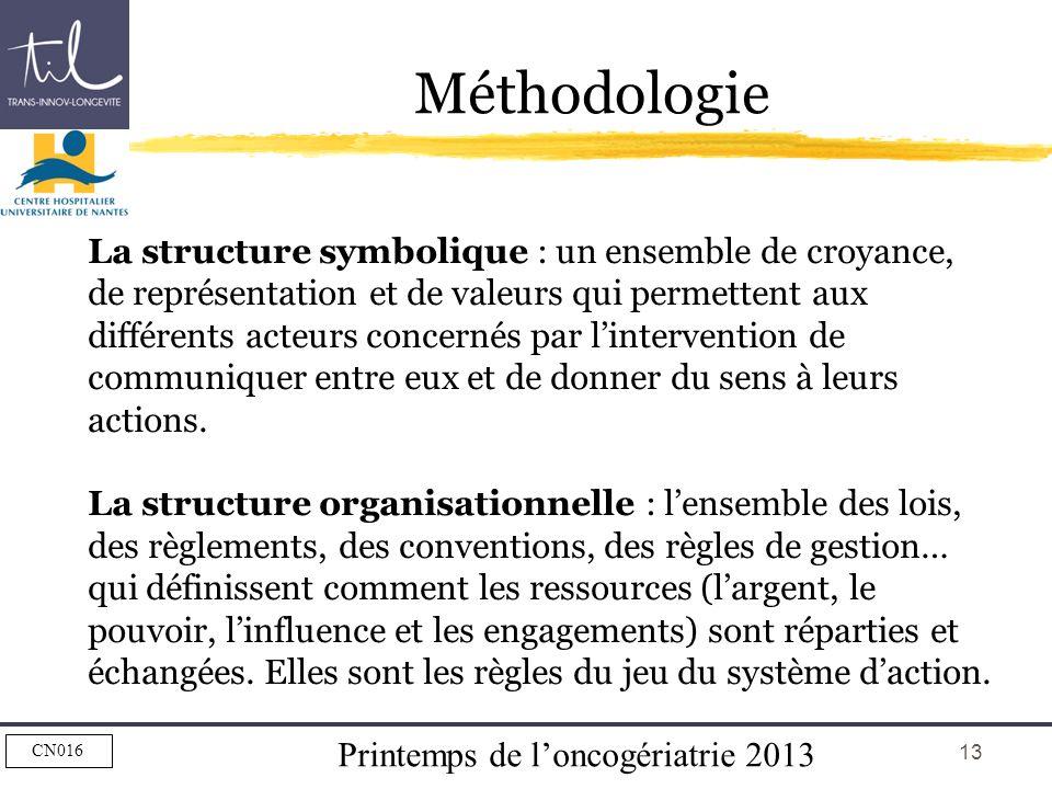 Printemps de loncogériatrie 2013 CN016 13 Méthodologie La structure symbolique : un ensemble de croyance, de représentation et de valeurs qui permette