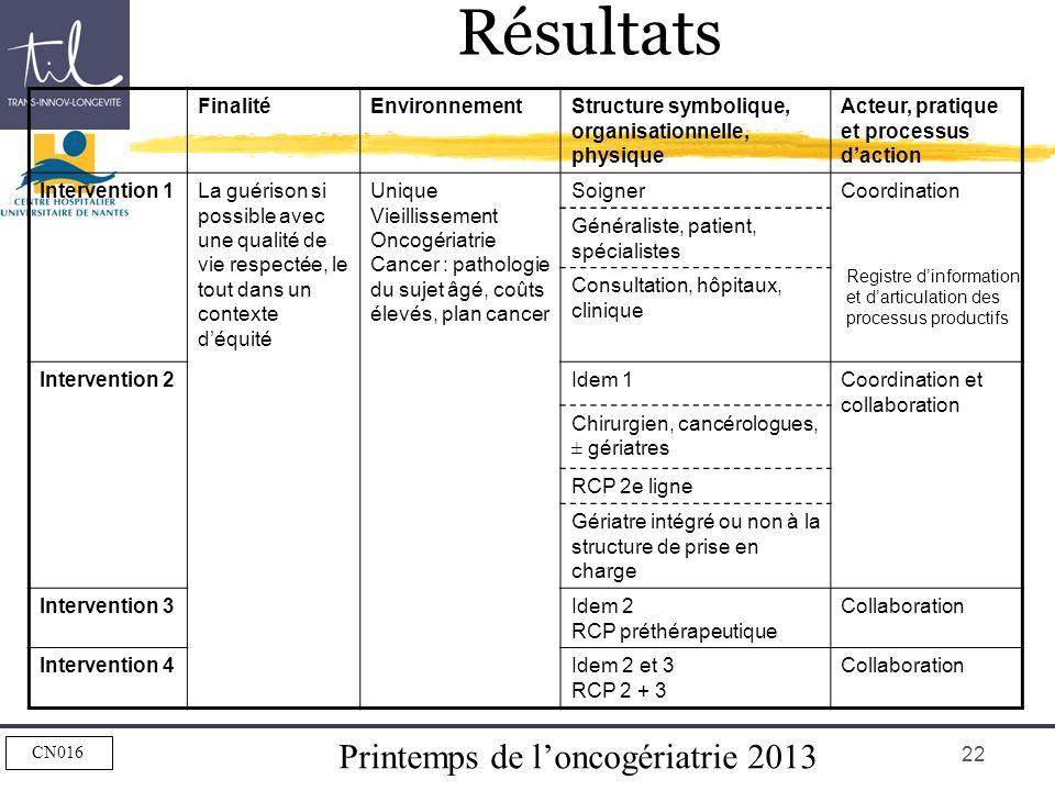 Printemps de loncogériatrie 2013 CN016 22 FinalitéEnvironnementStructure symbolique, organisationnelle, physique Acteur, pratique et processus daction
