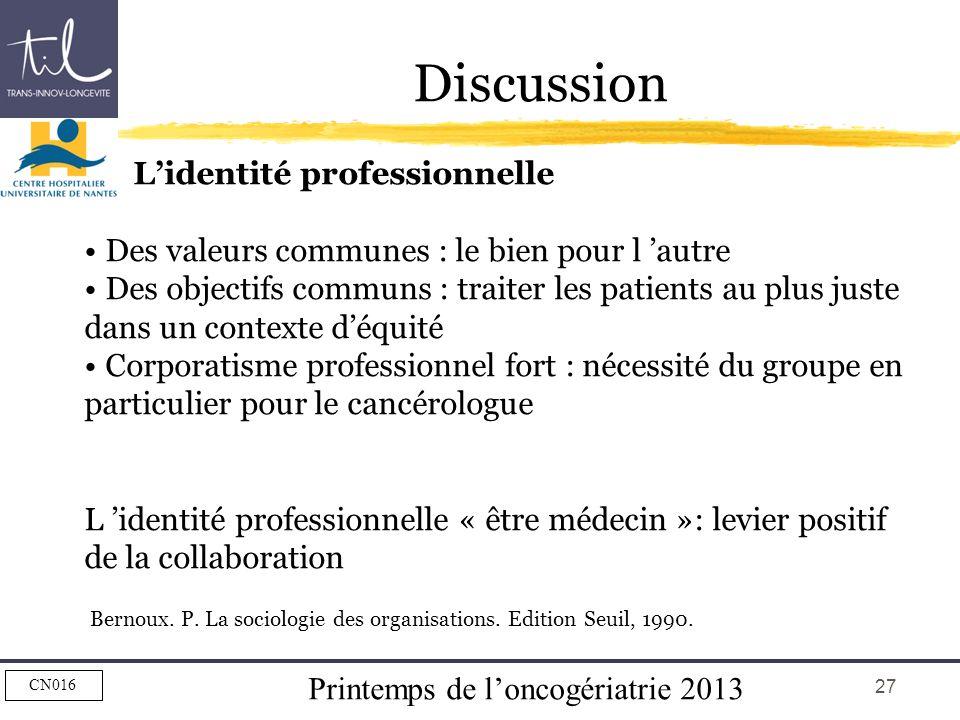 Printemps de loncogériatrie 2013 CN016 27 Discussion Lidentité professionnelle Des valeurs communes : le bien pour l autre Des objectifs communs : tra