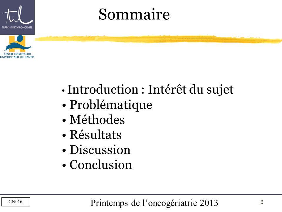 Printemps de loncogériatrie 2013 CN016 3 Sommaire Introduction : Intérêt du sujet Problématique Méthodes Résultats Discussion Conclusion