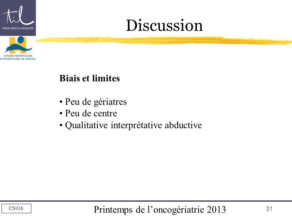Printemps de loncogériatrie 2013 CN016 31 Discussion Biais et limites Peu de gériatres Peu de centre Qualitative interprétative abductive
