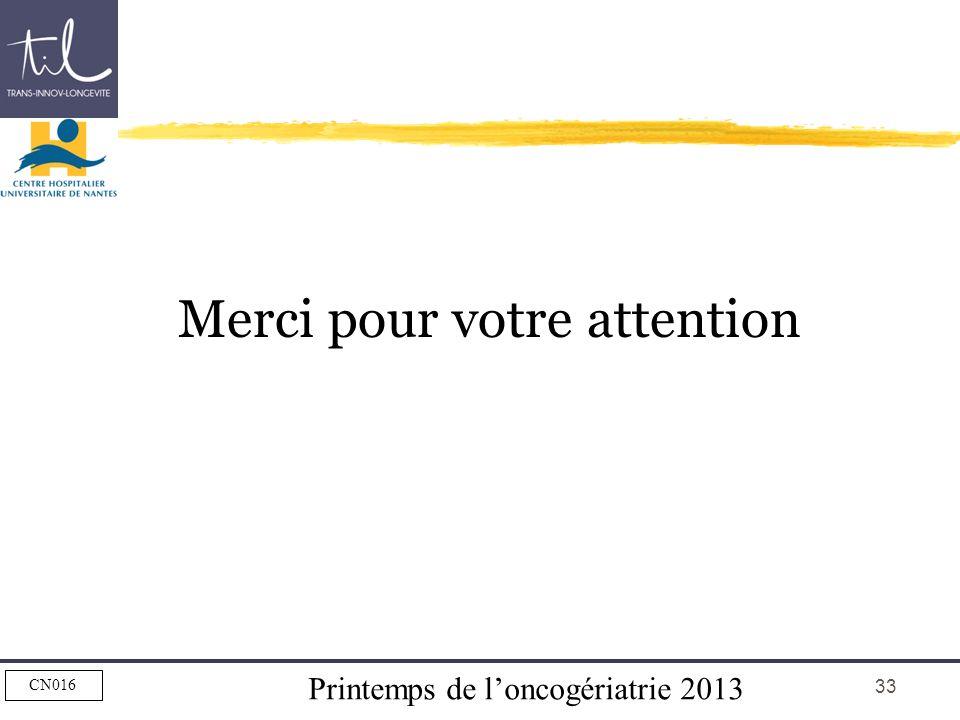 Printemps de loncogériatrie 2013 CN016 33 Merci pour votre attention