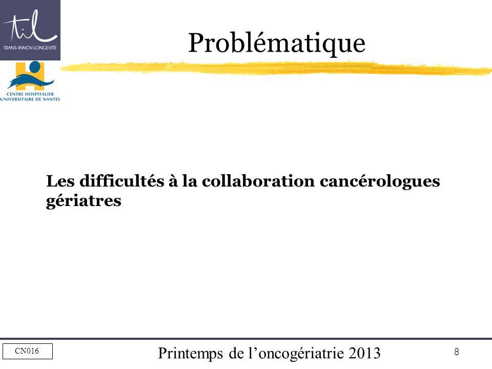 Printemps de loncogériatrie 2013 CN016 8 Problématique Les difficultés à la collaboration cancérologues gériatres