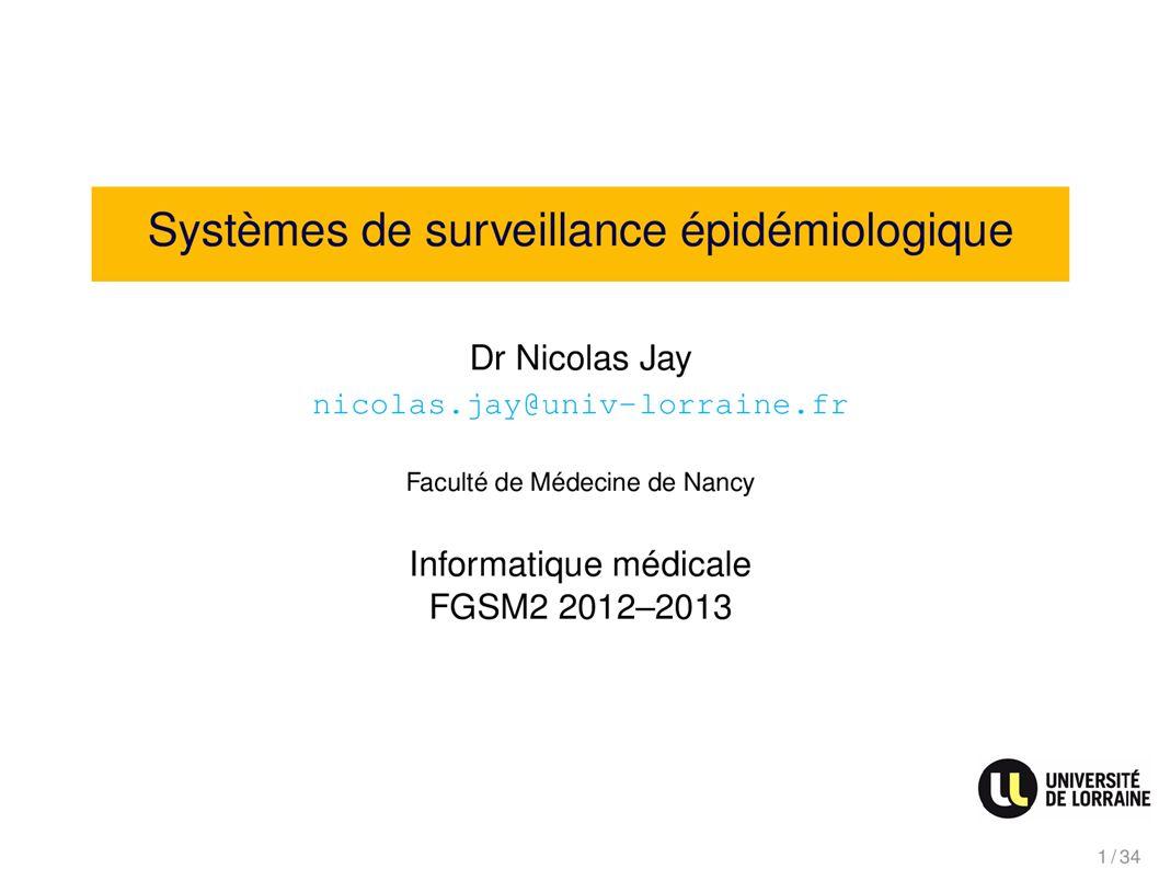 Systèmes de surveillance épidémiologique