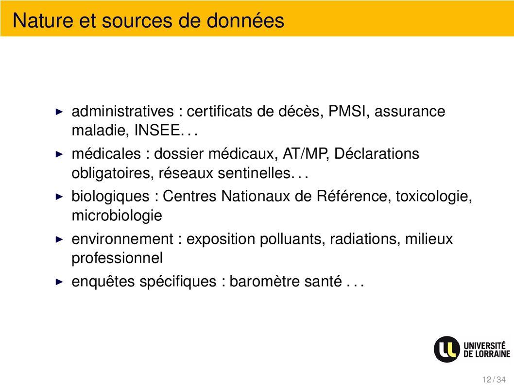 Nature et sources de données