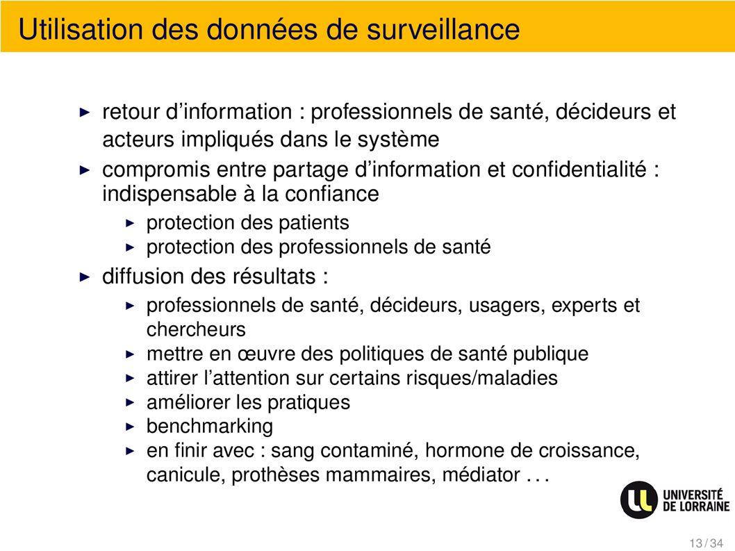 Utilisation des données de surveillance